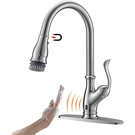 APPASO Touchless Kitchen Faucet with Pull Down Sprayer, Activated Hands-Free Motion Sensing Kitchen Faucet, Inducing Single Handle Smart Kitchen Sink Faucets, Stainless Steel Brushed Nickel, 170TL-BN