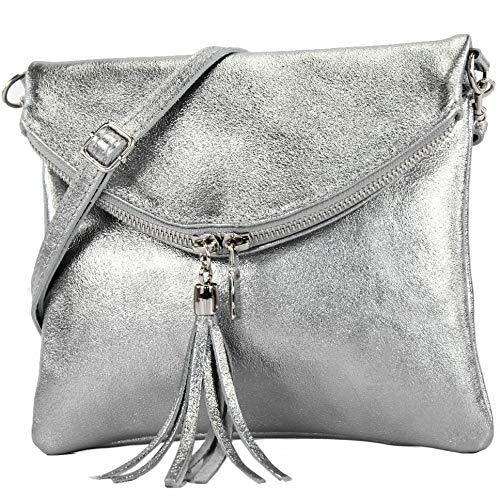 modamoda de - T139 - ital Umhängetasche Klein aus Nappaleder, Farbe:T139 Silber-Metallic