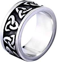BAVAHA Viking Ring Men Women Jewelry With Triquetra Pattern Keltic Irish Trinity Rings