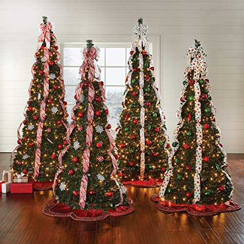 BrylaneHome Christmas Fully Decorated Pre-Lit 6-Ft. Pop-Up Christmas Tree, Red White