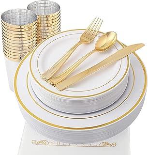 Supernal Set of 175pcs Gold Plastic Plates, Disposable Party Plates, Gold Plastic Cups with Gold Plastic Silverware, Plastic Dinnerware in Gold Color, Service for 25 Guest, Bonus 25 White Napkins