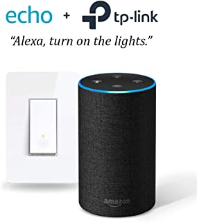 Echo (2nd Gen) - Charcoal with Smart Wi-Fi Light Switch by TP-Link