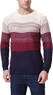 LongPing Men's Casual Stripe Pullover Cotton Crewneck Sweaters Assorted Color Knitwear