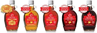 47 North TO THE POWER OF FIVE, 4 x Canadian Organic Single Source Syrup- Golden, Amber Dark & Very Dark & 1x Single Press ...