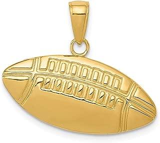 Black Bow Jewelry 14k Yellow Gold Medium Football Charm or Pendant, 24mm (15/16 inch)