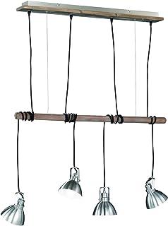 Trio Leuchten Lampa wisząca 305000430 Timber, metal nikiel matowy, elementy drewniane, bez 4 x E14