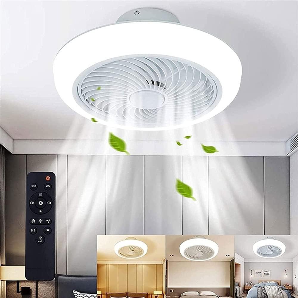 Luz de ventilador LED de 72W, 3 colores y 3 velocidades del viento, araña con ventilador, volumen de aire ajustable, ventilador de techo de 18 pulgadas con luz, luz de ventilador fino cerrado, luz de
