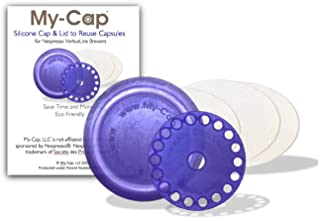 My-Cap's Silicone Cap and Lid to Reuse Capsules for Nespresso VertuoLine Brewers (Blueberry Color)