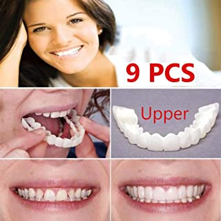 9ピース快適な天然化粧品偽の歯カバースナップオンシリコンパーフェクトスマイルベニヤ歯アッパービューティーツール歯用男性女性