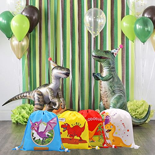 Dinosaur Party Goodie Bags,Dino Drawstring Favor Bags Pouch, Dinosaur Themed Party Supplies for Kids Birthday,Set of 12