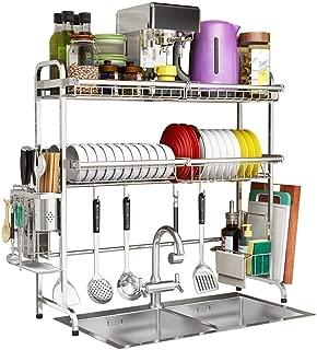 KOSGK Kitchen Shelf Dish Drainers Rack Dish Rack Sink Utensils Holder Cutlery Organizer Bowl Rack Kitchen Storage Shelf Stainless Steel (Size : 79 27 82cm)