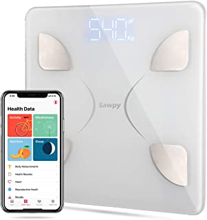 Bluetooth Body Fat Scale, Bluetooth Smart BMI Scale Wireless Digital Weight Scale, Body Composition Analyzer with Smartphone App for Body Weight, Fat, Water, Bone Mass, BMR, Muscle Mass (White)
