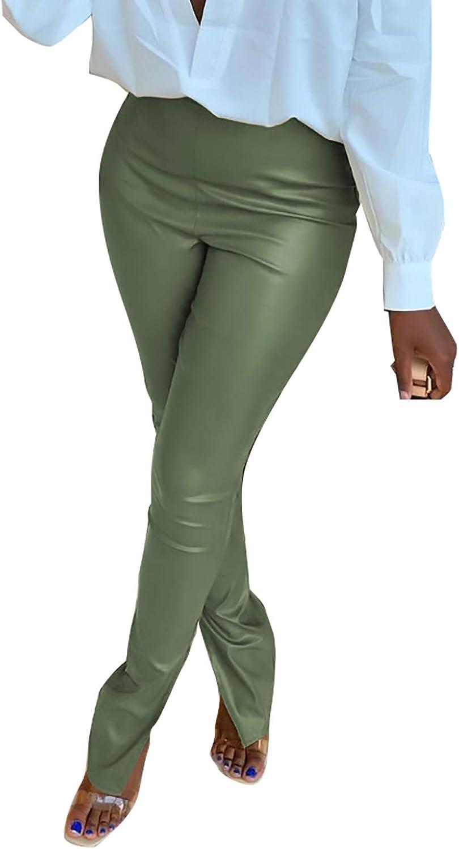 Womens Plus Cheap SALE Start Size Faux Leather Super intense SALE Split Waisted Pants Leggings High