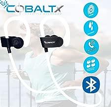 COBALTX Zero Gravity Sweat Resistant Super Lightweight Bluetooth Wireless Premium Stereo Headsets Sports Earphones 5 Hours of Music 30 Foot Range Premium Sound for Gym Running Workout (White) (White)