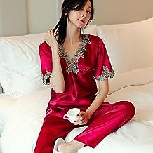 ZZJHH Paar satijnen pyjama, sexy V-hals kanten slaappak, bordeaux, dames XL
