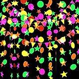 GLOBALDREAM Neon Papiergirlande, 4,4 m Kreis Punkte Girlande Neon Stern Girlande Dreieck Flags hängende Girlande für Geburtstag Hochzeit Baby Shower Party Supplies