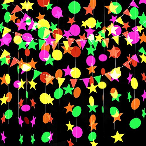 Globaldream Neon Paper Garland, 4.4m Neon Star Garland Round Paper Garland Triangle Flags Hanging Garland for Birthday Party Wedding Decorations