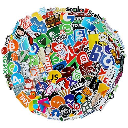 Programming Stickers(108pcs No-Duplicate),Vinyls Graffiti Stickers of IT Logo and Geek Coder Languages Series Logo, Developer Programmer Decoration,Open Sources Linux Mysql PHP Python C++ (IT Logo)