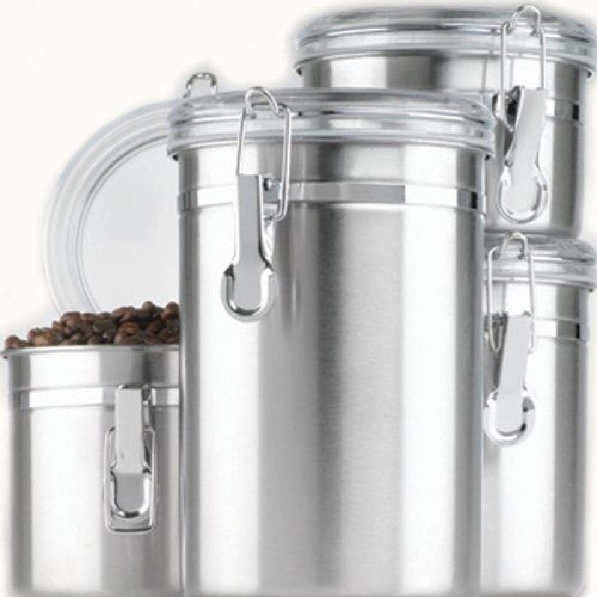 Anchor Hocking Round Stainless Steel Overseas parallel import regular item Clear Set Canister Max 87% OFF with Acr