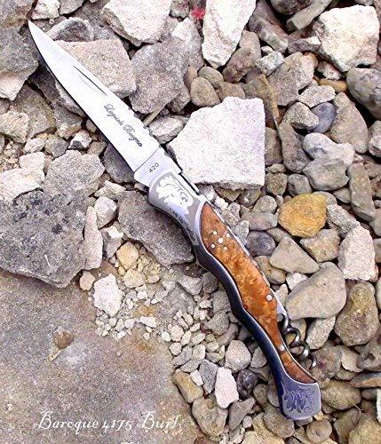 Laguiole Bougna France 4175 BAROCK Taschenmesser von hand gefertigt mit BURL ROSE holz