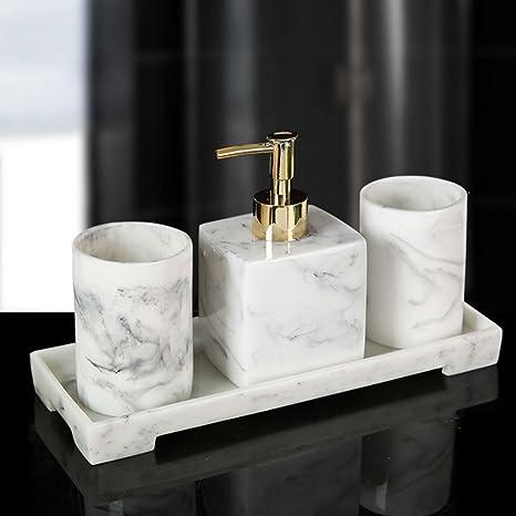 Amazon Com 4 Piece Bathroom Accessories Set Soap Dispenser Tray Tumbler Resin Ensemble Set For Home Bathroom Decor Gift Boxed Marble Home Kitchen
