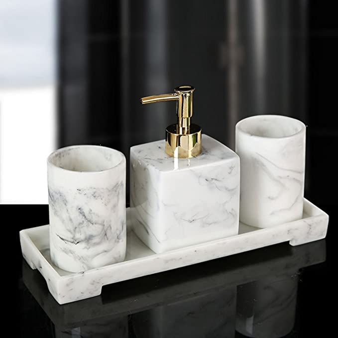 EEMKAY/® New Set oF 3 Bamboo Dispenser Tumbler And Soap Dish Elegant Design Bathroom Decor WC-19