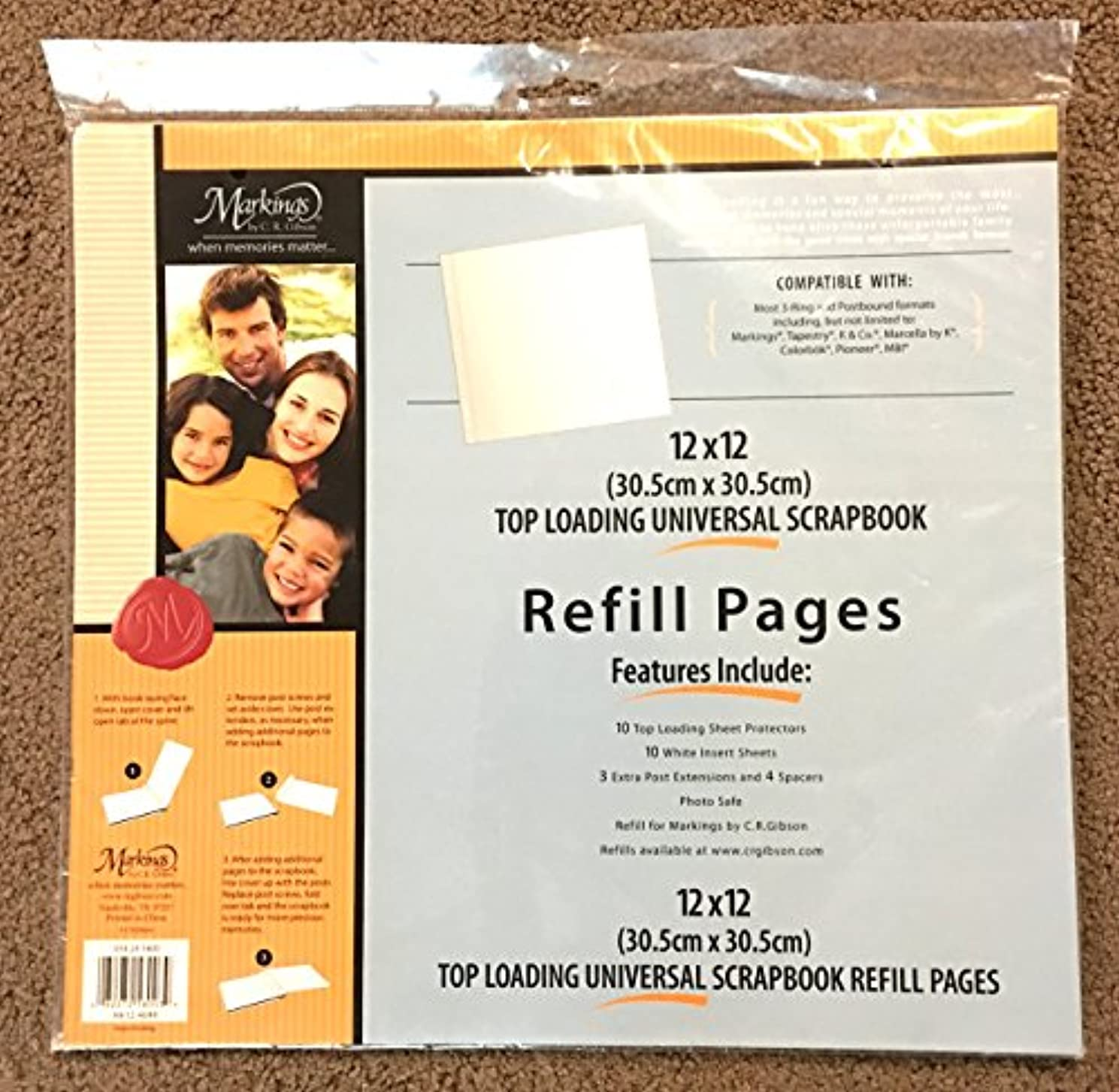 12 x 12 Top Loading Universal Scrapbook Refill Pages