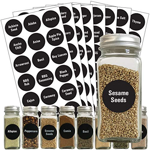 Talented Kitchen Round Spice Labels - 144 Preprinted Chalkboard Spice Labels Sticker. Chalk, Water Resistant, Write-On, Reusable, Spice Jar Label f/ Spice Organization Storage (Set of 144- Chalkboard)