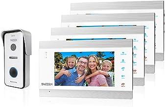 TMEZON WIFI 7 Inch 1080P Smart IP Wireless Video Doorbell Intercom System Entry Door Phone 4x Montior with 1x1200TVL Wired...