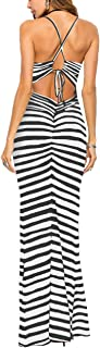 Women's Sexy Bodycon Backless Striped Long Maxi Dress in Zebra Stripes
