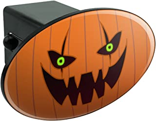 Graphics and More Jack-o'-Lantern Pumpkin Face Halloween Decoration Oval Tow Hitch Cover Trailer Plug Insert 2