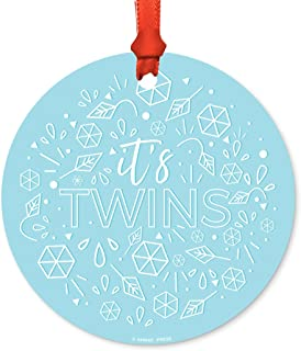 Andaz Press Round Metal Christmas Ornament, Baby Shower Gender Reveal It's Twins!, Blue, 1-Pack, Includes Ribbon and Gift Bag
