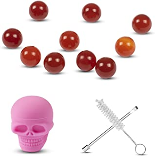 10PCS Mars Pink 6mm OD Quartz Beads Balls with 3ml Silicone Container,Cleaning Brush and a Wax Carving Tool
