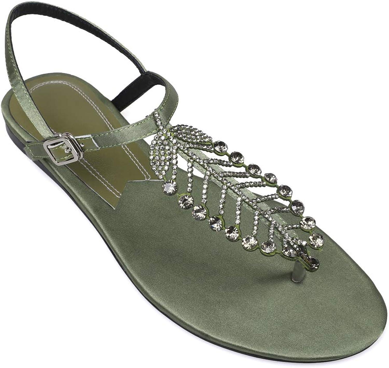 ffdcfc2904658 Women's Sparkle Rhinestone T-Strap Buckle Flops, Casual Flats ...
