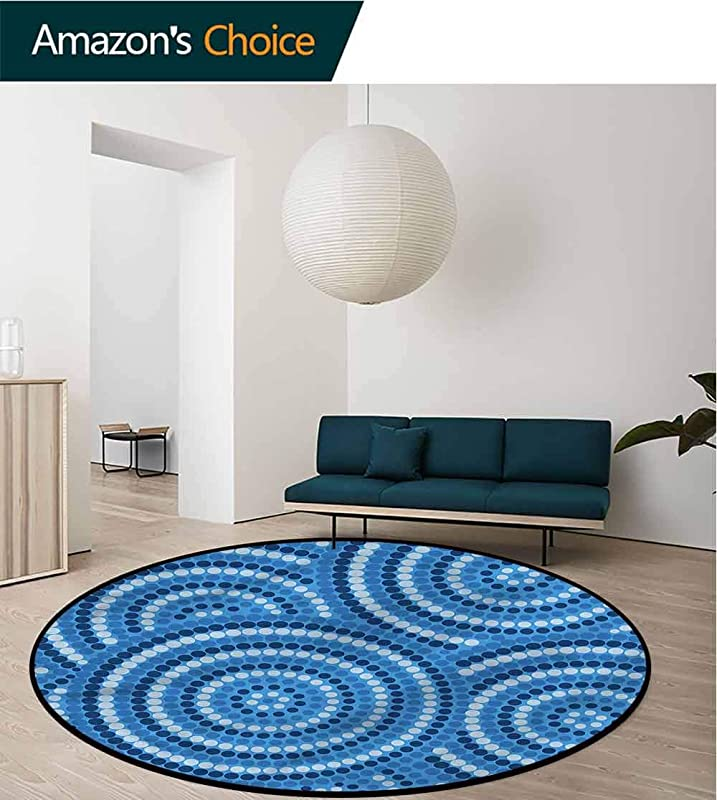 RUGSMAT Navy Blue Modern Washable Round Bath Mat Aboriginal Ethnic Pattern Pattern Round Area Rugs Thin Diameter 71