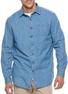 Croft & Barrow Mens Big & Tall Blue Button Down Long Sleeve Denim Twill Shirt