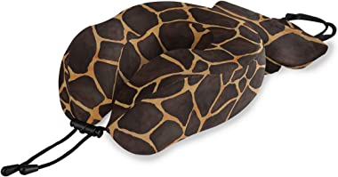 WXLIFE Travel Pillow Giraffe Animal Skin Print, Memory Foam Neck Pillow Support, U Shape Pillow Washable Pillow Cover, Travel Set for Airplane Car Train