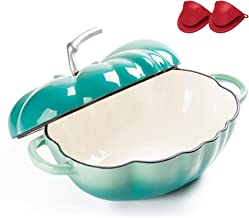 Home Cast Iron Tomato Cocotte, Enameled Cast Iron Dutch Oven Casserole Dish with Silicone Gloves, for Slow-Cooking Meats a...