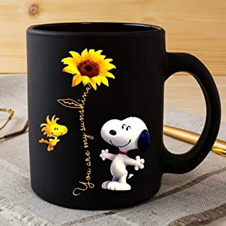 The best gift mug SNOOPY AND WOODSTOCK YOU ARE MY SUNSHINE SNOOPY SUNFLOWER funny mug gift black 11oz