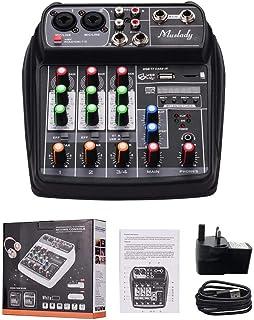 MZGA Muslady Mixer BT MP3 USB Input +48V Phantom Power for Music Recording (Color : Black UK Plug)