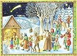 Richard Sellmer Verlag Papier Adventskalender / Weihnachtskalender mit Bildern und Glitzer für Kinder und Erwachsene Kommt, seht den Stall