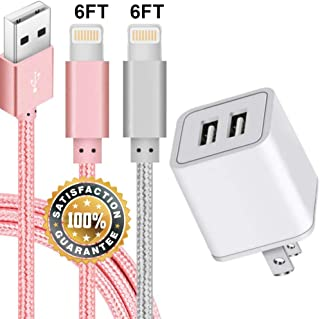 USB Charger, 2.4A Dual-Port USB Wall Adapter Plug Block with 2-Pack (6ft/2m) Durable Braided Armor Fast Charging Cable for iPhone X/8/7/6S Plus SE/5S/5C, iPad, iPod (PINK + SILVER)