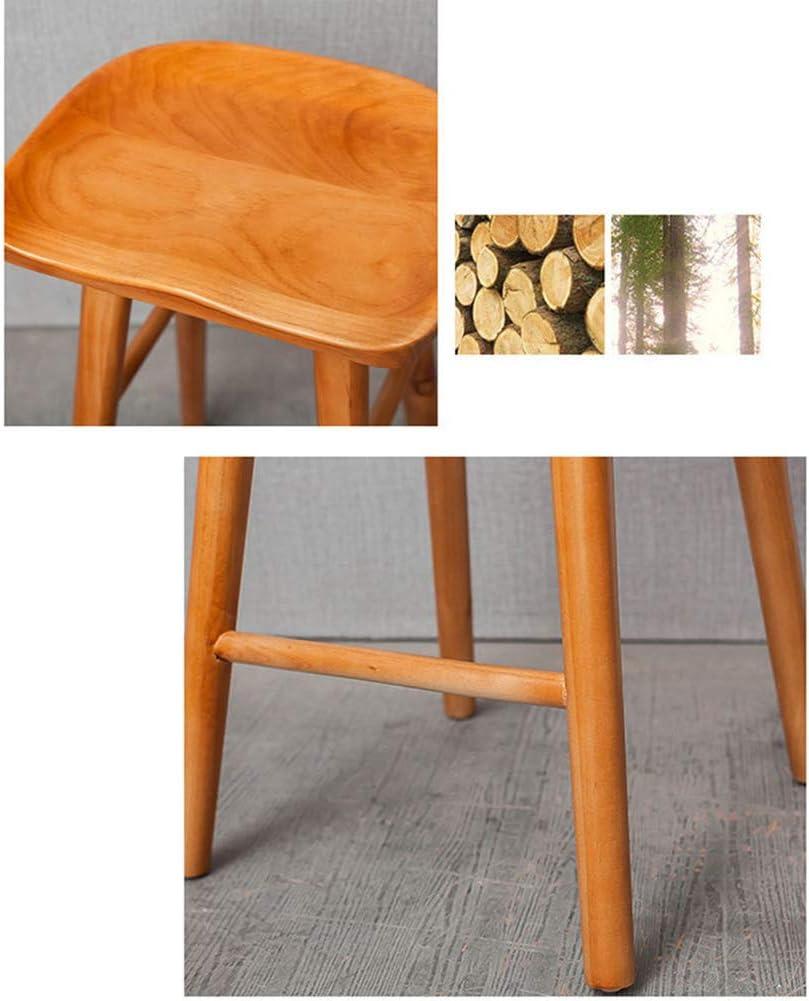 Tabouret De Bar Structure en Bois, Tabouret De Cuisine Industriels, Chaises Haute avec Repose-Pieds, Chaise Vintage pour Bistro Cuisine B