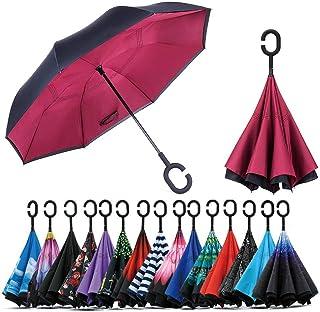 comprar comparacion Jooayou Paraguas Invertido de Doble Capa,Paraguas Plegable de Manos Libres Autoportante,Paraguas a Prueba de Viento Anti-U...