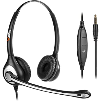 Amazon Com Wantek Wired Cell Phone Headset With Mic Noise Cancelling 3 5mm Computer Headphone For Iphone Samsung Galaxy Android Pc Laptop Mac Tablet Skype Call Center Office Ultra Comfort F602j35