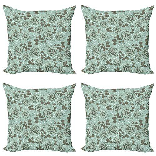 ABAKUHAUS Floral Set de 4 Fundas para Cojín, Inspiraciones románticas, Estampado Digital en Ambos Lados y Cremallera, 60 cm x 60 cm, Espuma de mar Verde Salvia