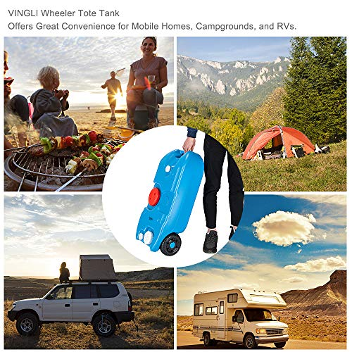 VINGLI 10 Gallon Tote Tank| Portable Wheeled Fresh Water Tank for Camping/Picnic/Camper/RV, Food Grade Safety & Lightweight & Durable