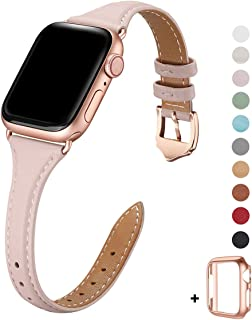 WFEAGL Leather Bands Compatible with Apple Watch 38mm 40mm 42mm 44mm, Top Grain Leather Band Slim & Thin Wristband for iWatch Series 5 & Series 4/3/2/1(Pink Sand Band+Rose Gold Adapter, 38mm 40mm)
