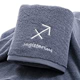 IAMZHL Thick Cotton Towel Set Face Bath Shower Towels Twelve Constellations Embroidery Large Bathroom Home for Adults toalha de banho-Grey Sagitarius-2-1pcs 35x75cm
