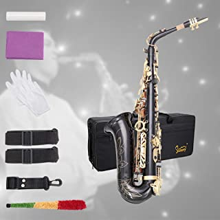 Glarry Student Alto Eb E-flat Handcrafted Carve Pattern Saxophone Gold Lacquer SAX Beginners Kit with Case, Reeds,Mouth Piece, Soft Cleaning Cloth and Rod,Gloves (Black)